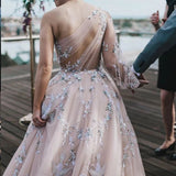 Long Sleeve One Shoulder Sparkly Prom Dress Long Evening Dress, Long Prom Dresses P1230