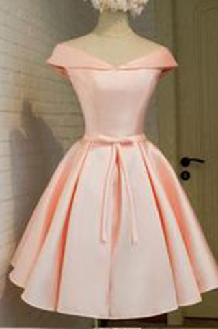 2017 lace up blush elegant Satin homecoming dress,cheap pink homecoming dresses PM733
