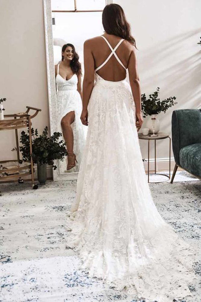 Elegant A Line V Neck Lace Ivory Beach Wedding Dresses with Slit, Bridal Gowns W1244