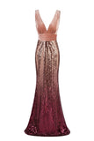 Sexy Sequins Mermaid V Neck Burgundy Velvet Long Prom Dresses Backless Evening Dress XU90802