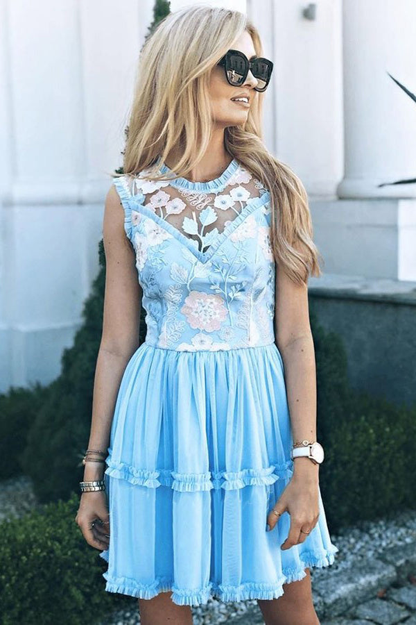 Jewel Short Blue Chiffon Homecoming Party Dress with Lace Straps Appliques Prom Dress H1287