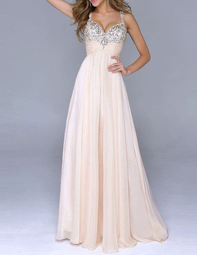 Pale Pink Unique A Line with Spaghetti Straps Open Back Backless Chiffon Prom Dresses uk PH29