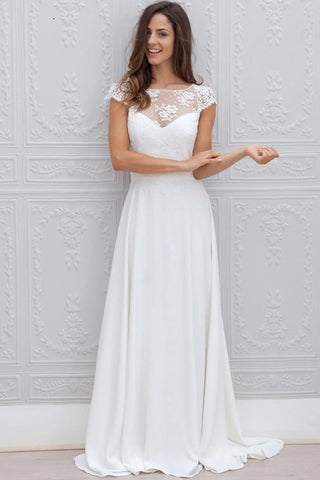 A Line Chiffon White Lace Appliques Cap Sleeve Open Back Scoop Long Wedding Dresses uk PW24