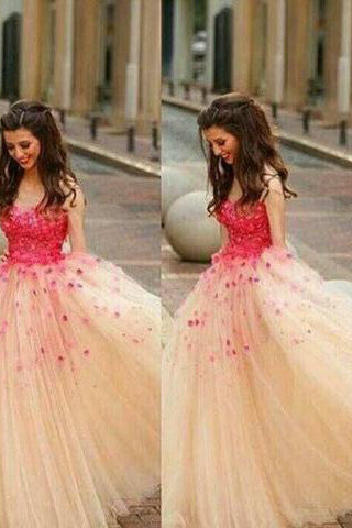 Cinderella Appliques Ball Gown Tulle Prom Dress,Wedding Dresses