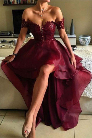 High-low Prom Dress,Asymmetrical Prom Dresses, Appliques Lace Backless Prom Dresses PH541
