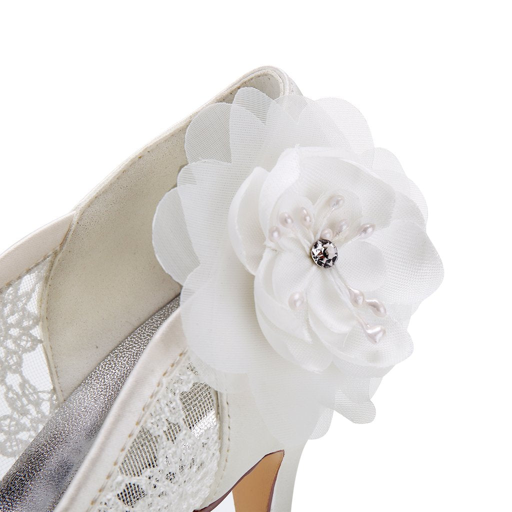 Ivory High Heels Lace Wedding Shoes with Flowers, Wedding Party Shoes,Wedding Shoes L-943