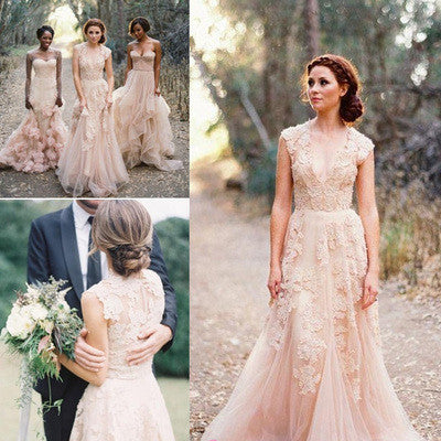 Long Tulle Vintage Romantic Unique Cap Sleeve Pink A-Line Appliques Wedding Dresses PH88