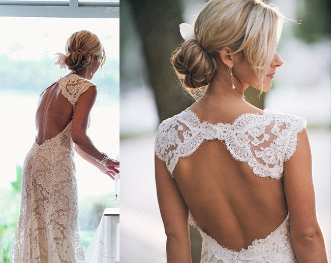 Long Sweetheart A-Line Open Back Sleeveless Lace Backless Wedding Gowns PH88