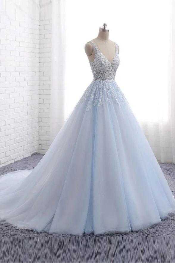 Princess Light Blue Long Ball Gown Lace Tulle Prom Dresses, V Neck Formal Dresses P1285