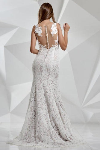 Lace Mermaid Ivory Scoop Wedding Dresses Bohemian Long with Train Bridal Dresses PW503