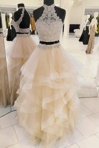 Lace Two Piece Prom Dresses with Horsehair Skirt Open Back Layers Halter Party Dress PW487