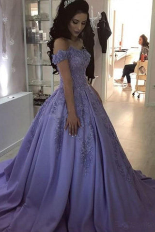 Lilac Ball Gown V Neck Off the Shoulder Lace Appliques Satin Beaded Prom Dresses uk PW465
