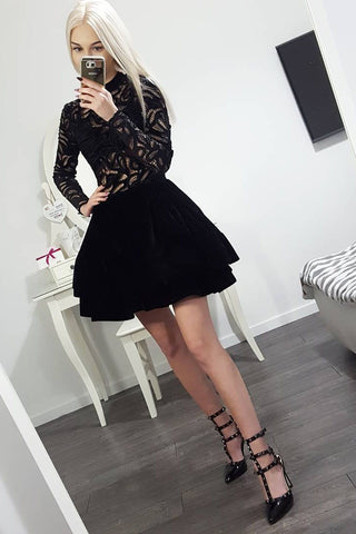Long Sleeve Black High Neck Above Knee Homecoming Dresses, Short Prom Dresses PW867
