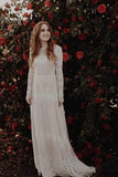 Long Sleeve Ivory Sheath Wedding Gowns Backless Lace Applique Country Wedding Dresses W1065