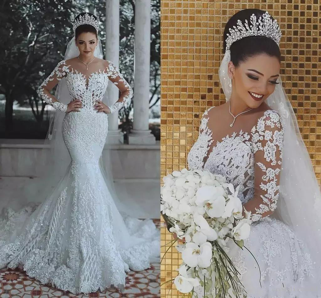Long Sleeve Lace Wedding Dress Mermaid Beads Lace Appliques