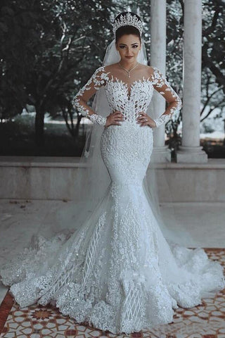 Long Sleeve Lace Wedding Dress Mermaid Beads Lace Appliques Wedding Gowns PW476
