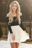 Long Sleeve Off the Shoulder Black and Ivory Above Knee Homecoming Dresses with Lace H1111