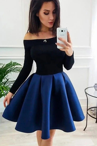 Long Sleeve Off the Shoulder Satin Royal Blue Homecoming Dresses Short Prom Dresses H1273