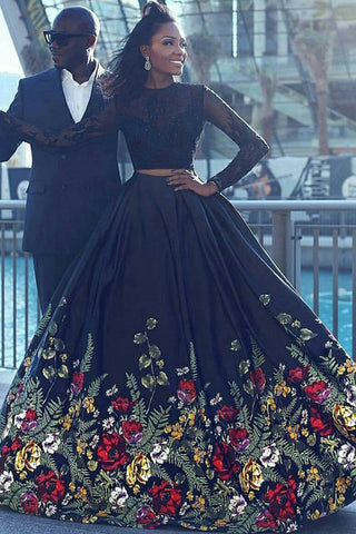 Long Sleeve Two Piece Black Floral Prom Dress with Beading Lace, Evening Dresses PW757