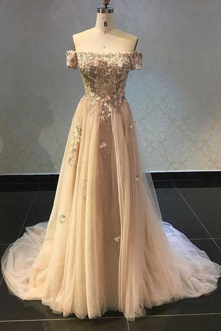 Luxurious A Line Off The Shoulder Evening Dress Champagne Prom Dress with Appliques PW565