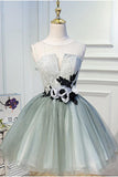 Luxury Waist Flowers See Through backside Lolita Dress, Short Tulle Homecoming Dresses H1335