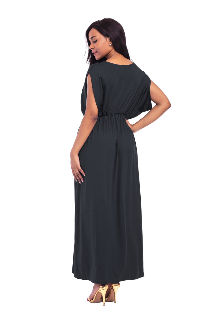 A Line V Neck Black Loose Prom Dresses, Casual Dresses FP2573