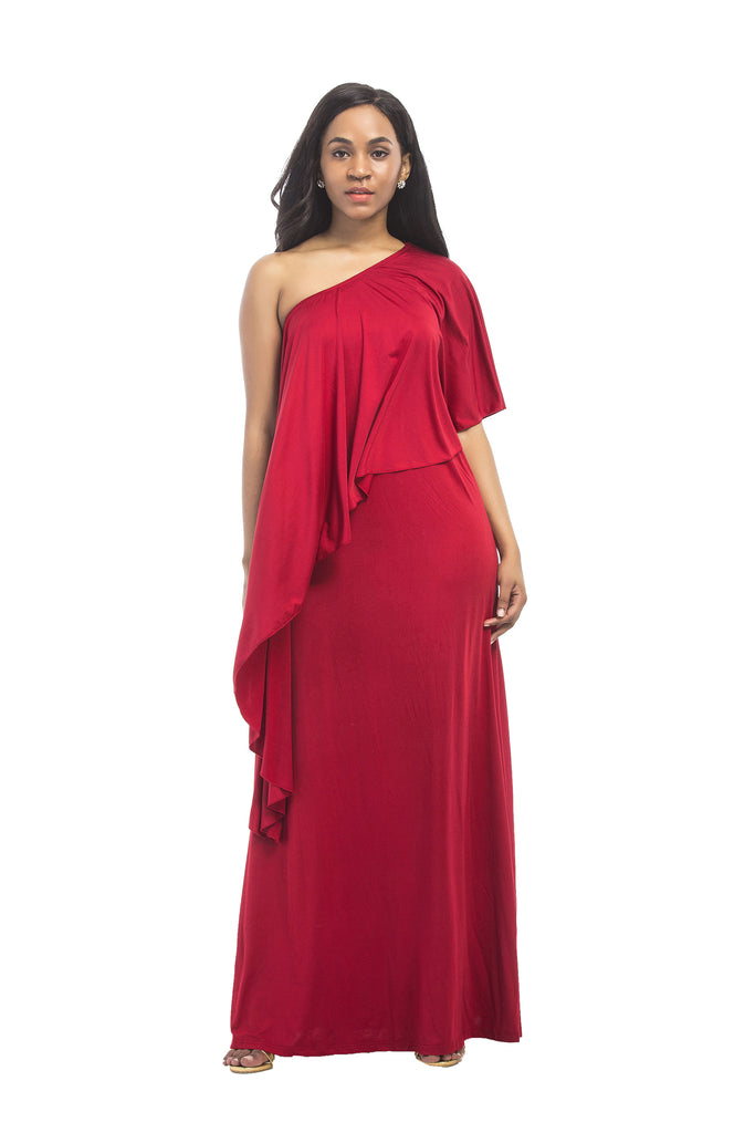 Unique Red One Shoulder Prom Dresses, Beautiful Evening Dresses FP3007