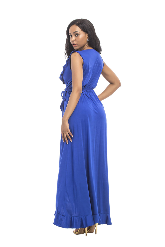 Sleeveless Ruffle Belted Long Dress, Party Dress FP6018