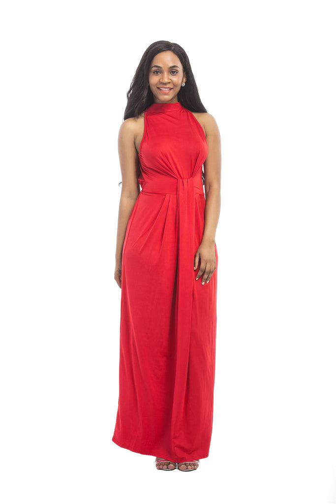 A Line Red High Neck Floor Length Long Prom Dresses, Cheap Prom Gowns FP2583