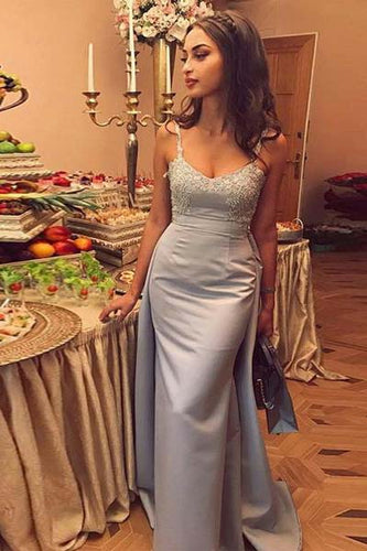 Mermaid Gray Spaghetti Straps Sweetheart Satin Detachable Prom Dresses with Appliques PW368