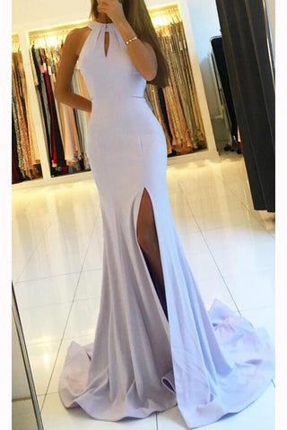 Mermaid Halter Blue Open Back Sleeveless Prom Dresses with Slit Long Dance Dresses PW708