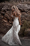 Unique Mermaid Off the Shoulder Straps Ivory Lace Beach Wedding Dress, Bridal Dresses PW829