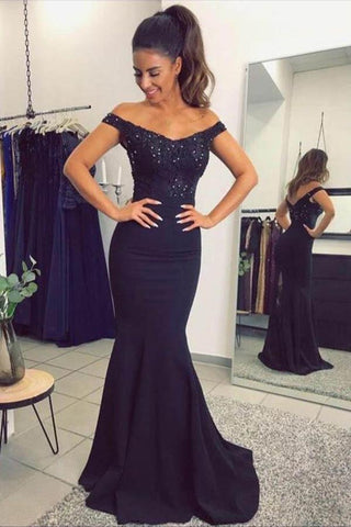 Mermaid Off the Shoulder Navy Blue Sweetheart Prom Dresses with Sequins PW577
