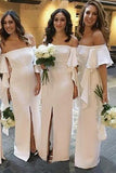 Mermaid Off the Shoulder Satin Floor Length Ivory Bridesmaid Dresses, Slit Party Dresses BD1010