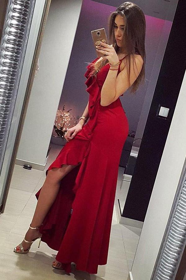 Mermaid Spaghetti Straps Red Satin Prom Dresses with Ruffles, Long Party Dress uk PW400