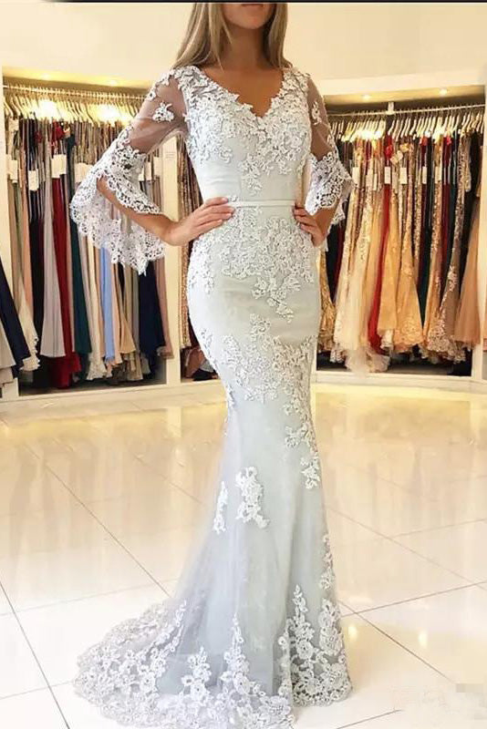 Mermaid V Neck Long Sleeve Prom Dresses Lace Appliques V Back Evening Dresses PW554