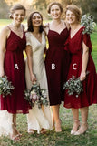 Mismatched Burgundy Chiffon Knee Length Bridesmaid Dresses V Neck Prom Dresses BD1012