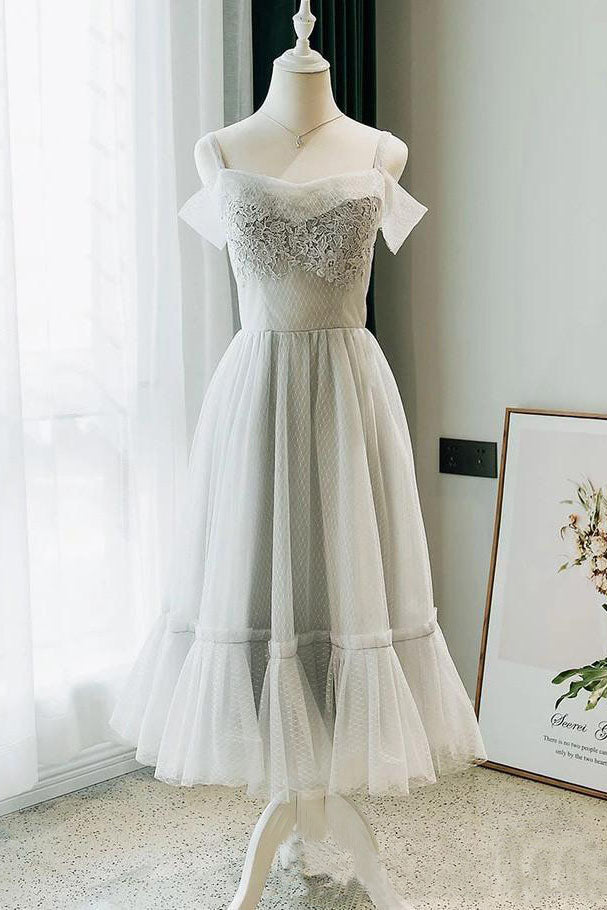 Modest Off the Shoulder Lace Short Formal Dress with Lace up Homecoming Dresses H1109