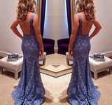 2018 New Style Custom Mermaid V-Neck Sleeveless Open Back Blue Lace Evening Dresses uk PH11
