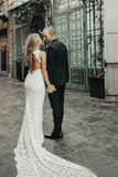 Charming Sheath Lace Bridal Gown with Slit Open Back Ivory Boho Wedding Dresses W1107