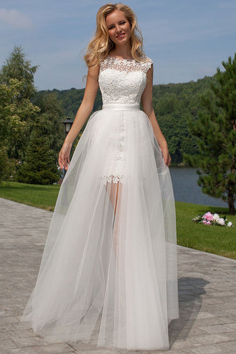 Sheath Scoop Neck Ivory Lace Tulle Detachable Ruffles Open Back Wedding Dresses PH738