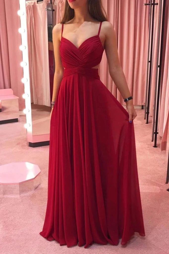 Unique Red Spaghetti Straps V Neck Chiffon Long Prom Dresses, Formal Dresses P1538