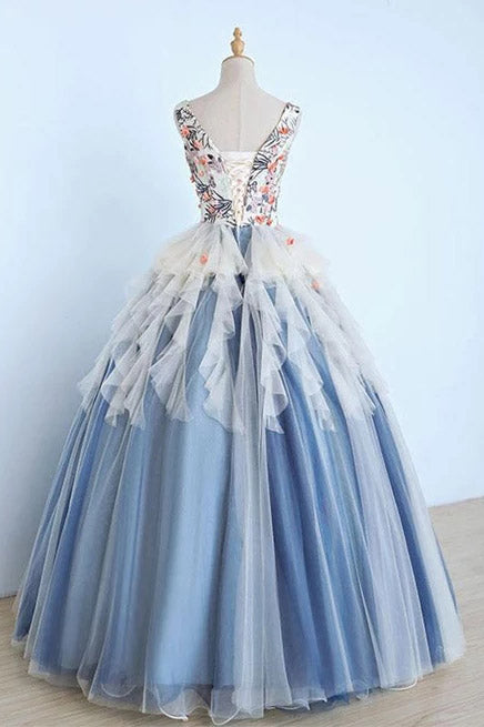 Princess Ball Gown Appliques Blue Tulle Prom Dresses, Sweet 16 Dress, Quinceanera Dress P1346
