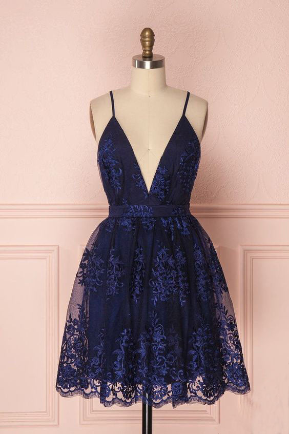 Navy Blue Deep V Neck Lace Spaghetti Straps Homecoming Dresses, Short Prom Dresses H1116
