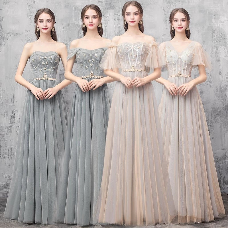 Elegant Off Shoulder Floor Length Tulle Prom Dress, Lace up Bridesmaid Dresses P1232