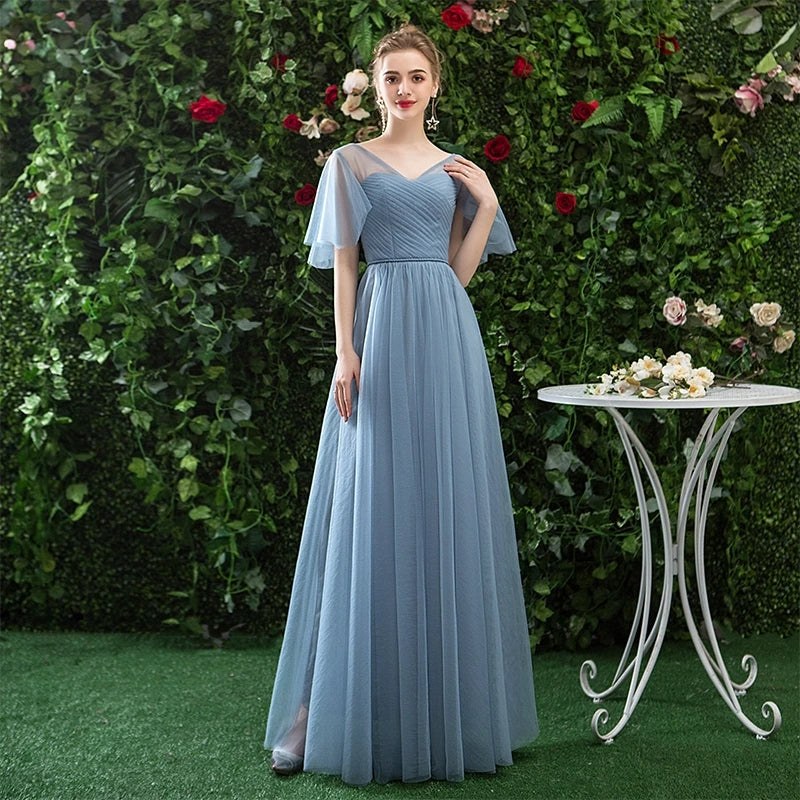A Line V Neck Tulle Blue Cheap Prom Dress, Long Floor Length Bridesmaid Dresses P1272