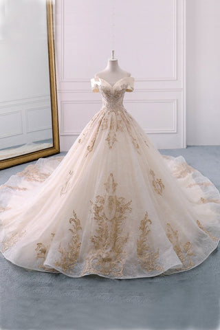 Off the Shoulder Ball Gown Sweetheart Wedding Dress, Long Appliques Bridal Dress PW619
