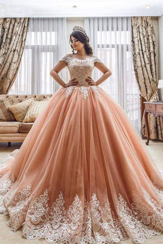 Off the Shoulder Ball Gowns Prom Dresses Lace Appliques Tulle Pink Quinceanera Dresses PW550