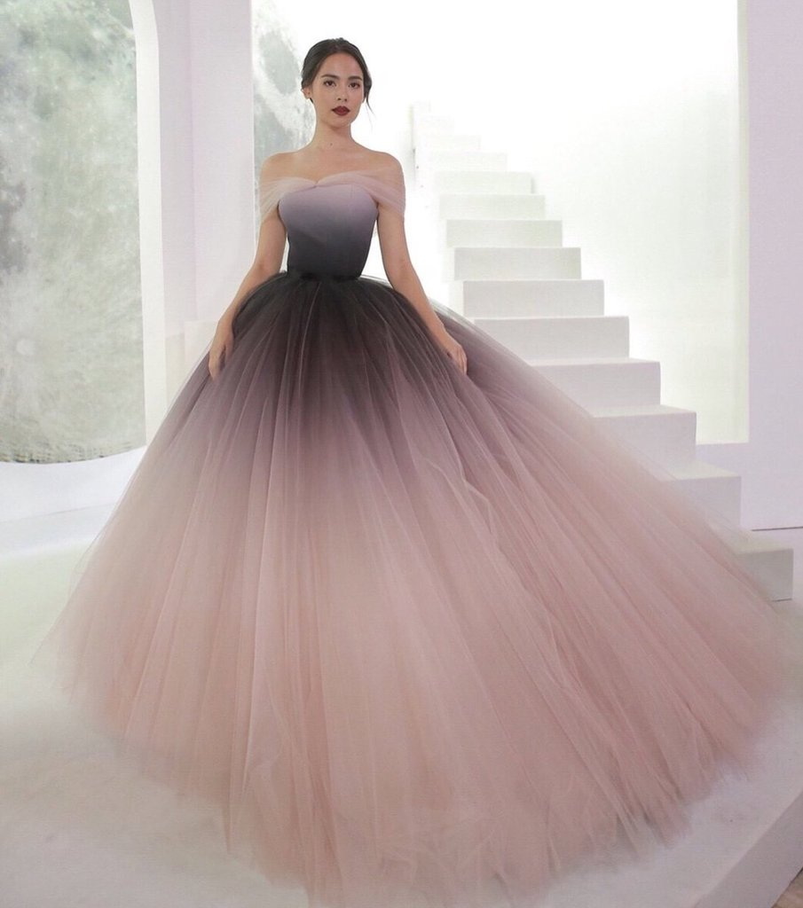 819009ee932 Off the Shoulder Ombre Prom Dresses Backless Tulle Sweetheart ...