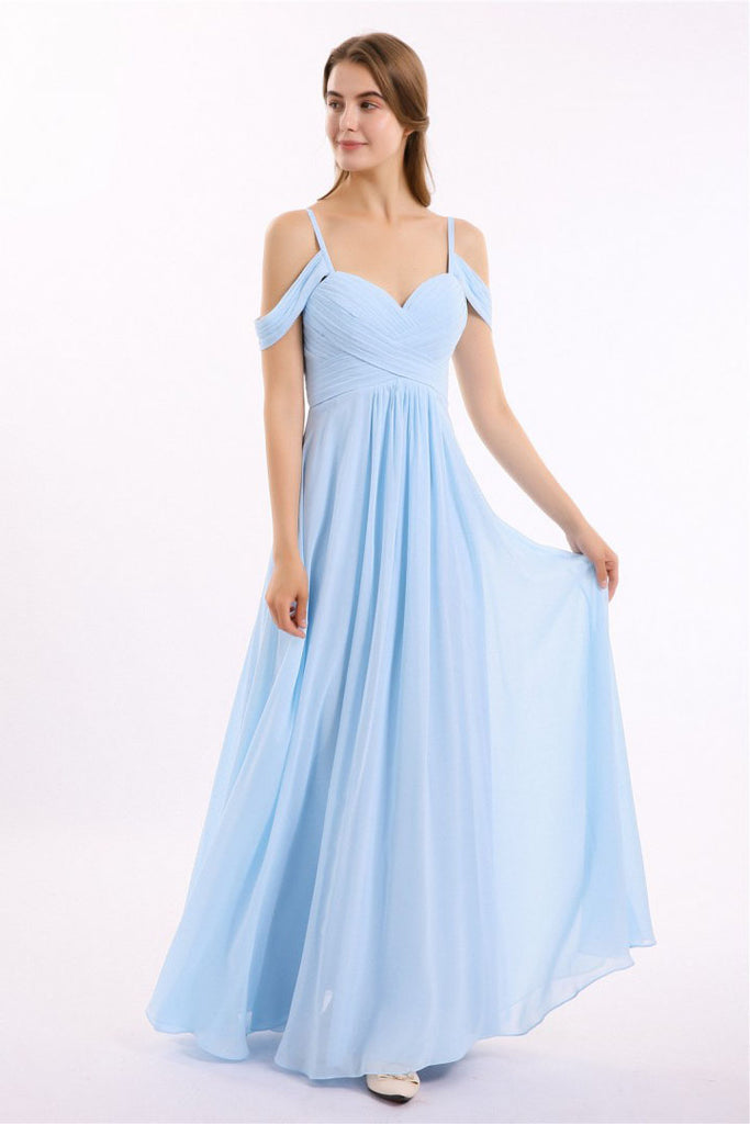 Off the Shoulder Spaghetti Straps Sweetheart Chiffon Prom Dresses Bridesmaid Dresses P1106
